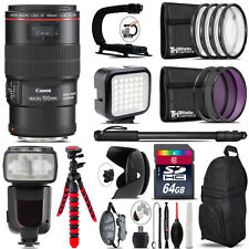Canon EF 100mm 2.8L IS USM Lens - Video Kit + Pro Flash - 64GB Accessory Bundle