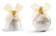 Lladro 2018 Christmas Bell & Ball Set Of 2 Golden Lustre #18438 #18435 Brand Nib