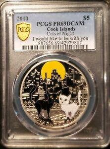 RARE 2010 Cook Islands Cats at Night I would like to be with you PCGS PR69DCAM