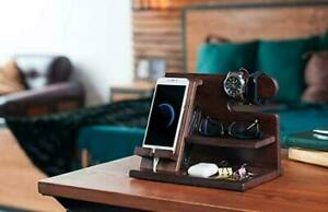 Tablet Handy Organizer Ständer Halterung Dockingstation Holz Samsung Apple Watch