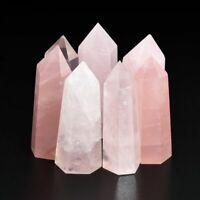 100% Natural Rock Pink Rose Quartz Crystal Wand Point Healing Crystal Stone Gift