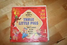 Vintage, 1965 WALT DISNEY'S THREE LITTLE PIGS, LLP 303, 33 1/3 RPM Record & Book