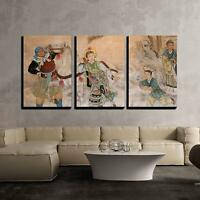 "Wall26 - Chinese Classic Wall Drawing - Canvas Art Wall Decor - 24""x36""x3 Panels"