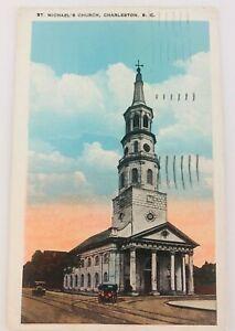 Vintage Charleston South Carolina SC St. Michael's Church Postcard