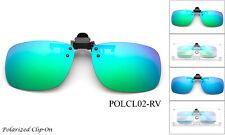 Polarized Clip On Flip up Sunglasses Flash Mirror Glare Block Driving UV 100%
