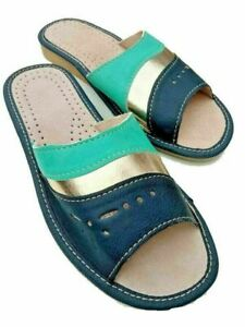 Womens Leather Slippers Slip On  Mules sandals Ladies Size 4 5 6 7 8 9 10.