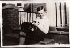 Vintage Photograph 1930'S Boys Fashion Boston Terrier Dog/Puppy Canada Old Photo