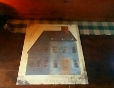 PRiMiTiVE FarmHouse Old Village Shaker Blue SaltBox Sign Print Picture U Frame