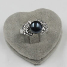 iSTONE Women's WONDERFUL 8-9 mm black natural freshwater pearls ring size 8 9