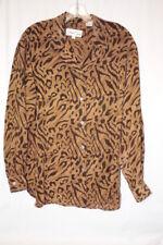 CEST OUI Brown Leopard Print 100% Silk Button Down Blouse Womens Size S-B113