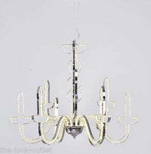 LED Funky Unusual Contemporary Chrome Outline CHANDELIER - Novelty Lighting