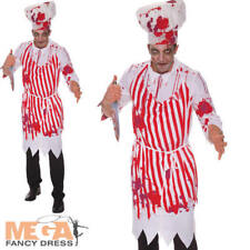 Bloody Butcher Mens Fancy Dress Halloween Scary Cook Horror Adults Costume New