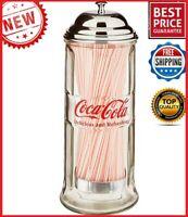 Vintage Coca Cola Straw Dispenser Glass Holder Jar Coke Bottle Soda Drink Diner