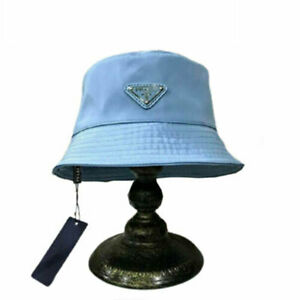 P-ra-da Bucket Hat Cap Blue One Size Free Shipping Brand Fashion Without The Box