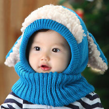 Baby Toddler Girls Boys Winter Beanie Warm Hat Hooded Scarf Earflap Knitted Cap
