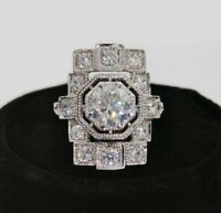 14K White Gold 2.92Ct Round Diamond Vintage Art Deco Edwardian Engagement Ring