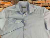 Canali Italy Mens Long Sleeve Button Up Dress Shirt Blue Striped 41-16 Spread