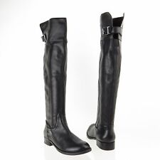 Women's Sole Society Kemper Shoes Black Leather Knee High Boots Sz 6 M EU 36 NEW
