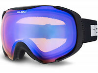 BLOC Ski Goggles MASK medium/ large Matt Black with Blue Mirror CAT.2 Lens MK3