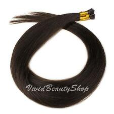 100 I Stick Glue Tip Micro Bead Straight Remy Human Hair Extension Dark Brown #2