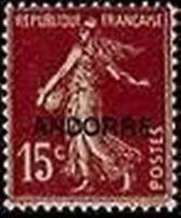 "ANDORRE FRANCAIS N° 7 "" SEMEUSE SUR FOND PLEIN 15 C. BRUN LILAS "" NEUF xx TTB"