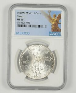 1982 MS65 Mexico Mexican Libertad Graded NGC 1 oz Silver .999 Fine *102