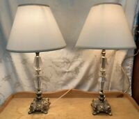 Vintage Brass And Clear Lucite Electric Table Lamps Pair
