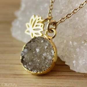 Charcoal Agate Druzy Quartz Pendant Gold Necklace