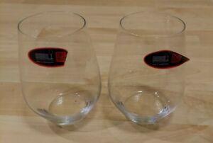 "Pair 2 RIEDEL Stemless Wine/Whiskey Glasses 5"" Tall Whiskey Tumbler"