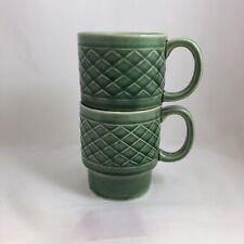 2 Vintage Japan Ceramic Stacking Coffee Mugs Cups - Dark Green Basket Weave