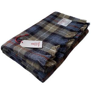 Harris Tweed MacKenzie Tartan Check Pure Wool Large Throw Blanket 150x200cm