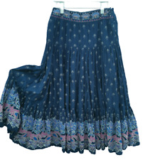 NEXT Prairie Maxi Gypsy Tiered Skirt Woman Size 12 Blue Embroidery Floral Boho