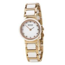Bering Women's Watch Ceramic Two Tone Rose Gold and White Bracelet 10725-766