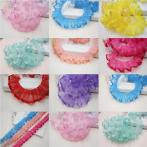 1-8 Yards Organza Pleated Edge Gathered Ribbon Frilled Lace Trim Home Decoration