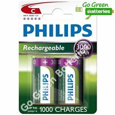 2 x Philips C Size 3000 mAh Rechargeable Batteries LR14 HR14 BABY NiMH