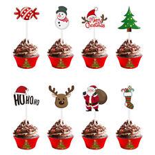72PCS Christmas Cupcake Toppers Santa Claus Christmas Tree Cake Picks for Xmas