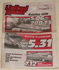 "RARE ""UNITED RACER"" DRAG RACING NEWSPAPER-APRIL 18, 1988--""HILL/BERNSTEIN"" CVR!"