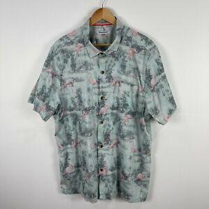 Tommy Bahama Mens Button Up Shirt XL Flamingo Pattern Short Sleeve Silk Blend