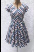 Eshakti Striped Fit Flare Dress S 4