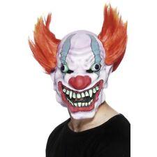 Horror Clown Latex Head Mask Hair Mens Adults Halloween Fancy Dress Accessory