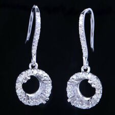 Sterling Silver Real Diamonds Semi Mount Long Chain Women's Dangle Fine Earrings