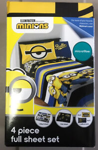 New Minions 4 pc. Full Size Sheet Set  Main Colors: Black & Yellow/Gold Loc#EB65