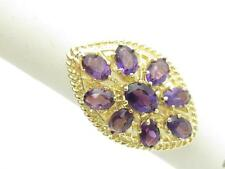 14k Yellow Gold & Purple Amethyst Vintage Cable Design Marquee Shape Dome Ring