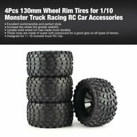 4 Pcs 130mm Wheel Rim Tires for 1/10 Monster Truck Racing RC Car Accessories |