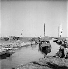 ESPAGNE c. 1950 - Bateaux Marais de l'Albufera Valence - Négatif 6 x 6 - Esp 201