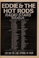 Eddie Hot Rods Radio Stars Squeeze UK Tour advert 1978