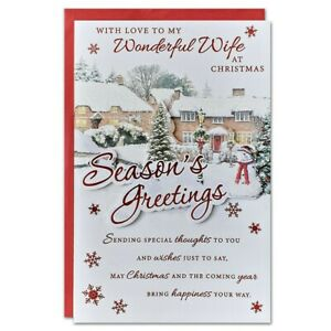 WIFE CHRISTMAS CARD ~ EXTRA LARGE 8 PAGE VERSE ~ QUALITY CARD VILLAGE DESIGN