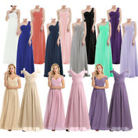 Women Wedding Bridesmaid Cocktail Evening Party Prom Gown Long Maxi Dress V-neck