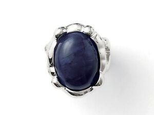 "New! Lia Sophia ""Denim Dreams"" Silver Tone Ring w/Navy Blue Center Stone size 7"