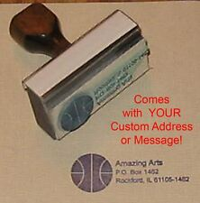 Basketball Rubber Stamp With Custom Address or Message
